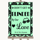 Mint Green Damask Don't Be Blinded Sunglasses Customised Wedding Sign