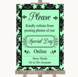 Mint Green Damask Don't Post Photos Online Social Media Wedding Sign