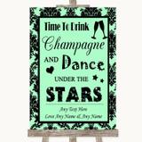 Mint Green Damask Drink Champagne Dance Stars Customised Wedding Sign
