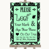Mint Green Damask Fingerprint Tree Instructions Customised Wedding Sign