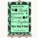Mint Green Damask Friends Of The Bride Groom Seating Customised Wedding Sign