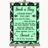 Mint Green Damask Grab A Bag Candy Buffet Cart Sweets Customised Wedding Sign
