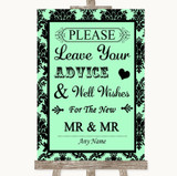 Mint Green Damask Guestbook Advice & Wishes Gay Customised Wedding Sign