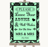 Mint Green Damask Guestbook Advice & Wishes Lesbian Customised Wedding Sign