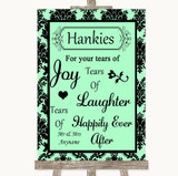 Mint Green Damask Hankies And Tissues Customised Wedding Sign
