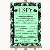 Mint Green Damask I Spy Disposable Camera Customised Wedding Sign