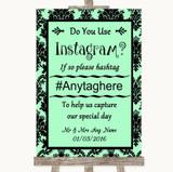 Mint Green Damask Instagram Photo Sharing Customised Wedding Sign
