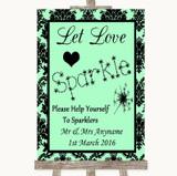 Mint Green Damask Let Love Sparkle Sparkler Send Off Customised Wedding Sign