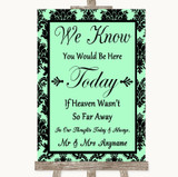 Mint Green Damask Loved Ones In Heaven Customised Wedding Sign