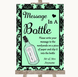 Mint Green Damask Message In A Bottle Customised Wedding Sign