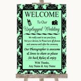 Mint Green Damask No Phone Camera Unplugged Customised Wedding Sign