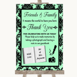 Mint Green Damask Photo Guestbook Friends & Family Customised Wedding Sign