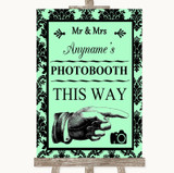 Mint Green Damask Photobooth This Way Right Customised Wedding Sign