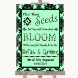 Mint Green Damask Plant Seeds Favours Customised Wedding Sign