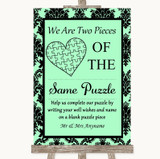 Mint Green Damask Puzzle Piece Guest Book Customised Wedding Sign