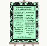 Mint Green Damask Romantic Vows Customised Wedding Sign