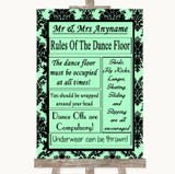 Mint Green Damask Rules Of The Dancefloor Customised Wedding Sign