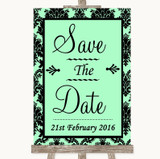 Mint Green Damask Save The Date Customised Wedding Sign
