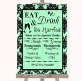 Mint Green Damask Signature Favourite Drinks Customised Wedding Sign