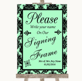 Mint Green Damask Signing Frame Guestbook Customised Wedding Sign
