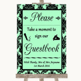 Mint Green Damask Take A Moment To Sign Our Guest Book Customised Wedding Sign