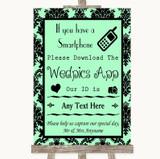 Mint Green Damask Wedpics App Photos Customised Wedding Sign