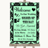 Mint Green Damask Welcome Order Of The Day Customised Wedding Sign