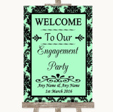 Mint Green Damask Welcome To Our Engagement Party Customised Wedding Sign