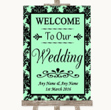 Mint Green Damask Welcome To Our Wedding Customised Wedding Sign