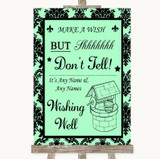 Mint Green Damask Wishing Well Message Customised Wedding Sign