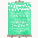 Mint Green Watercolour Lights In Our Thoughts Customised Wedding Sign