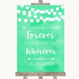 Mint Green Watercolour Lights Informal No Seating Plan Customised Wedding Sign