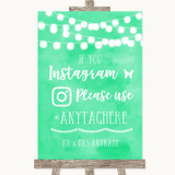 Mint Green Watercolour Lights Instagram Hashtag Customised Wedding Sign