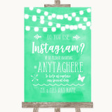Mint Green Watercolour Lights Instagram Photo Sharing Customised Wedding Sign
