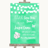Mint Green Watercolour Lights Jenga Guest Book Customised Wedding Sign