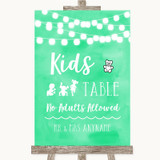 Mint Green Watercolour Lights Kids Table Customised Wedding Sign