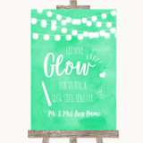 Mint Green Watercolour Lights Let Love Glow Glowstick Customised Wedding Sign