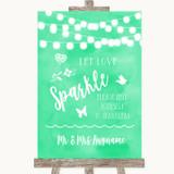 Mint Green Watercolour Lights Let Love Sparkle Sparkler Send Off Wedding Sign