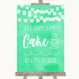Mint Green Watercolour Lights Let Them Eat Cake Customised Wedding Sign