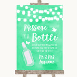 Mint Green Watercolour Lights Message In A Bottle Customised Wedding Sign