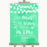 Mint Green Watercolour Lights Petals Wishes Confetti Customised Wedding Sign