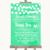 Mint Green Watercolour Lights Photo Guestbook Friends & Family Wedding Sign
