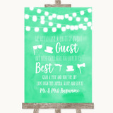 Mint Green Watercolour Lights Photo Prop Guestbook Customised Wedding Sign