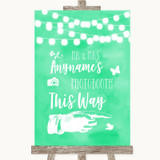 Mint Green Watercolour Lights Photobooth This Way Right Wedding Sign