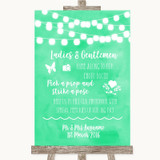 Mint Green Watercolour Lights Pick A Prop Photobooth Customised Wedding Sign