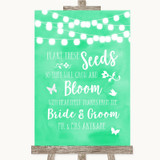 Mint Green Watercolour Lights Plant Seeds Favours Customised Wedding Sign