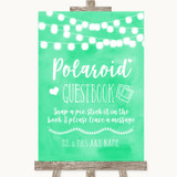 Mint Green Watercolour Lights Polaroid Guestbook Customised Wedding Sign