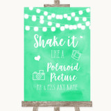 Mint Green Watercolour Lights Polaroid Picture Customised Wedding Sign