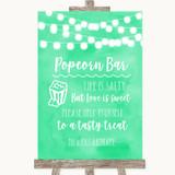 Mint Green Watercolour Lights Popcorn Bar Customised Wedding Sign