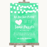 Mint Green Watercolour Lights Puzzle Piece Guest Book Customised Wedding Sign